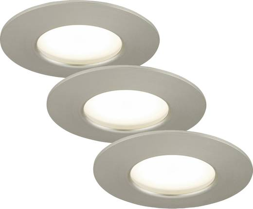 LED-Bad-Einbauleuchte 3er Set 15 W Warm-Weiß Briloner 7204-032 Nickel (matt)