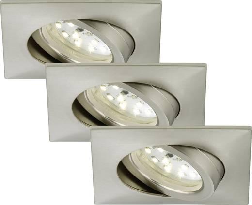 LED-Einbauleuchte 3er Set 15 W Warm-Weiß Briloner 7210-032 Nickel (matt)