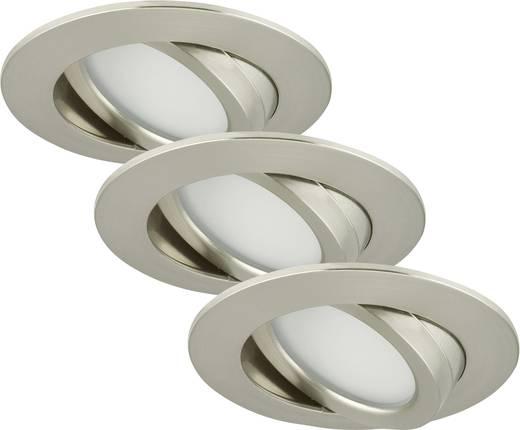 LED-Einbauleuchte 3er Set 15 W Warm-Weiß Briloner 7209-032 Nickel (matt)