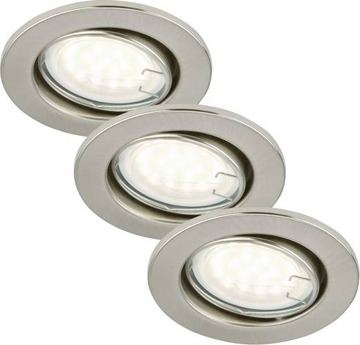 Einbauleuchte 3er Set LED GU10 9 W Briloner 7208-032 Nickel (matt)