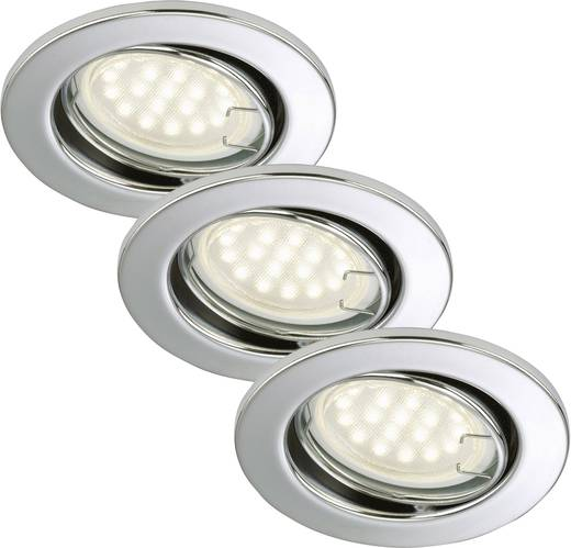 Einbauleuchte 3er Set EEK: A++ (A++ - E) LED GU10 9 W Briloner 7208-038 Chrom