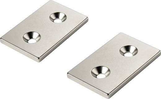 Permanent-Magnet Rechteckig N35 Grenztemperatur (max.): 80 °C Conrad Components W40L25T3-2M4