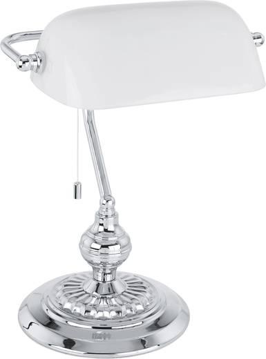 Tischlampe Halogen E27 60 W EGLO Banker Traditional 90968 Chrom, Weiß