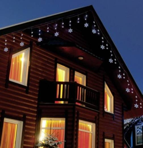 Motiv-Lichterkette Schneeflocken Außen netzbetrieben 70 LED Kalt-Weiß Polarlite PDC-03-002