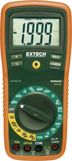 Hand-Multimeter digital Extech EX410A Kalibriert nach: ISO CAT III 600 V Anzeige (Counts): 2000