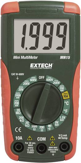 Hand-Multimeter digital Extech MN15A Kalibriert nach: Werksstandard (ohne Zertifikat) CAT III 600 V Anzeige (Counts): 2