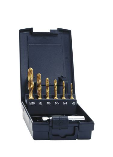 Exact 05930 Kombigewindebohrer 7teilig metrisch M3, M4, M5, M6, M8, M10 Rechtsschneidend HSS 1 Set