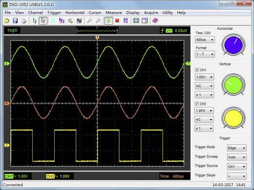 Oszilloskop-Vorsatz VOLTCRAFT DSO-1052 USB 50 MHz 2-Kanal 150 MSa/s 64 kpts 8 Bit Digital-Speicher (DSO), Spectrum-Anal