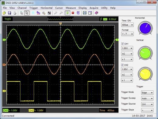 USB-Oszilloskop VOLTCRAFT DSO-1052 USB 50 MHz 2-Kanal 150 MSa/s 64 kpts 8 Bit Digital-Speicher (DSO), Spectrum-Analyser