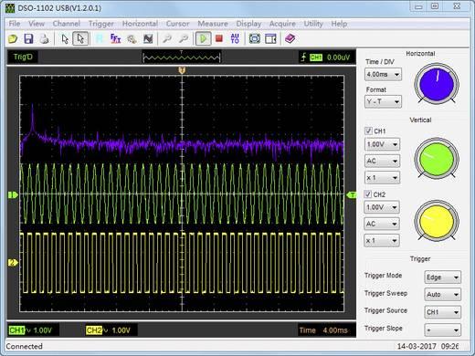 USB-Oszilloskop VOLTCRAFT DSO-1102 USB 100 MHz 2-Kanal 250 MSa/s 1 Mpts 8 Bit Digital-Speicher (DSO), Spectrum-Analyser