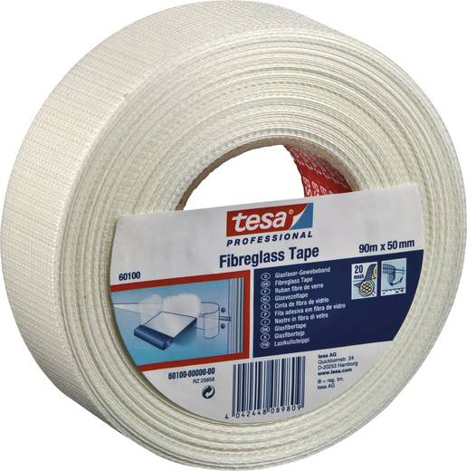 Gewebeklebeband Weiß (L x B) 90 m x 50 mm tesa 60100-0-0 1 Rolle(n)