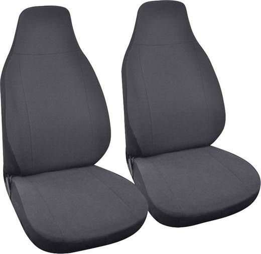 Eufab 28295 SMART Sitzbezug 4teilig Polyester, Velours Anthrazit Fahrersitz, Beifahrersitz