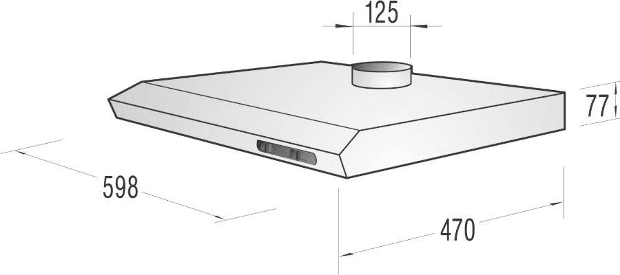 Unterbau Dunstabzugshaube 60 Cm Gorenje DU6115EC 62 DB Metall