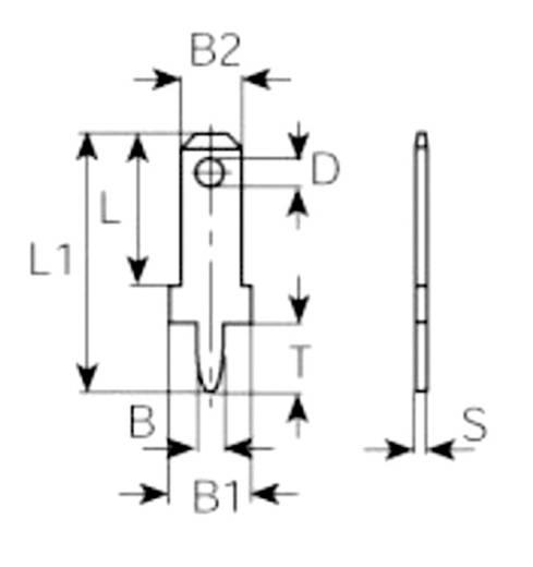 Steckzunge Steckbreite: 2.8 mm Steckdicke: 0.8 mm 180 ° Unisoliert Metall Vogt Verbindungstechnik 3773a08.68 100 St.