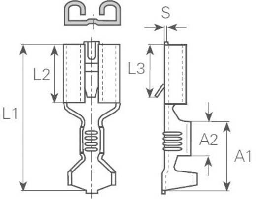 Flachsteckhülse mit Rasthaken Steckbreite: 6.3 mm Steckdicke: 0.8 mm 180 ° Unisoliert Metall Vogt Verbindungstechnik 383