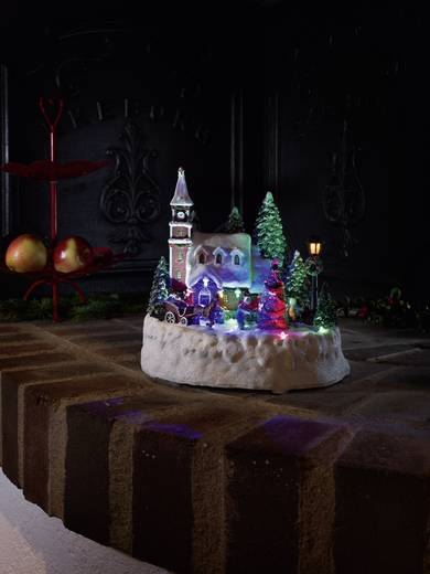 Konstsmide 3496-000 LED-Szenerie Haus mit spielenden Kindern Bunt LED Bunt