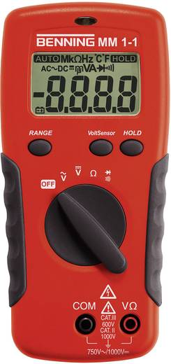 Hand-Multimeter digital Benning MM 1-1 Kalibriert nach: Werksstandard CAT II 1000 V, CAT III 600 V Anzeige (Counts): 2000