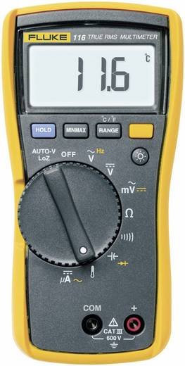 Hand-Multimeter digital Fluke 116 Kalibriert nach: Werksstandard CAT III 600 V Anzeige (Counts): 6000