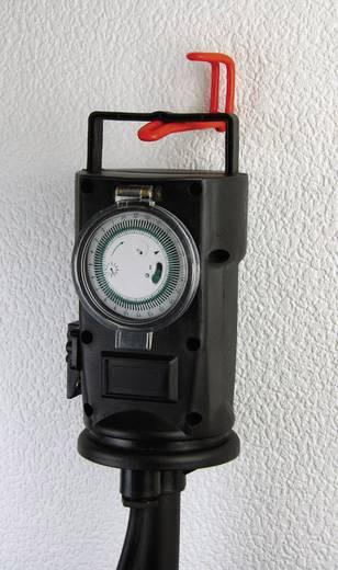 Heitronic 36222 Gartensteckdose mit Zeitschaltuhr 2fach Schwarz