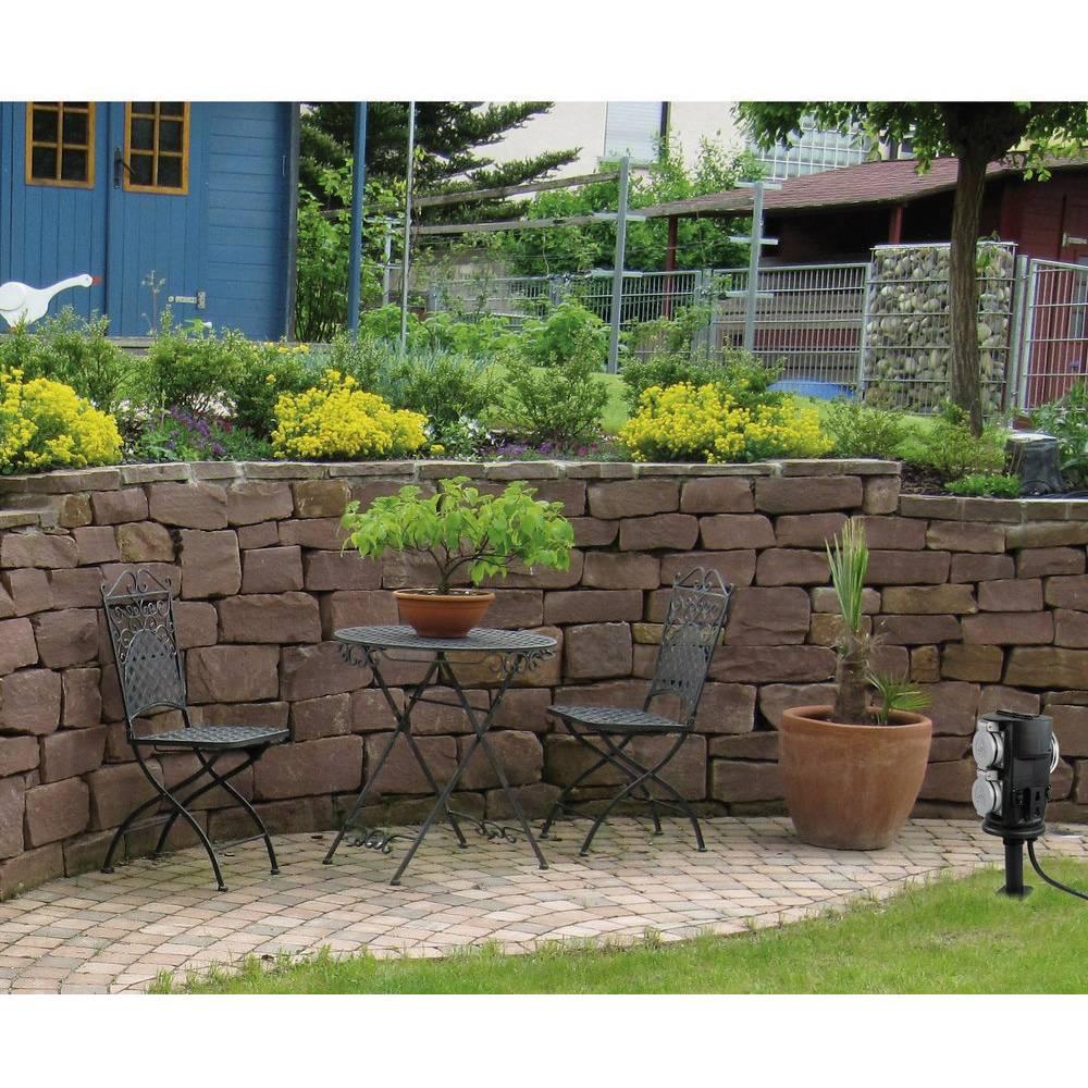 Presa di corrente da giardino con timer 2 scomparti nero heitronic 36222 in vendita online - Illuminare giardino senza corrente ...