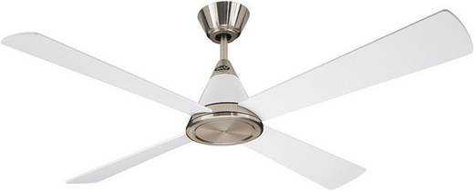 Deckenventilator CasaFan Eco Cono 132 BN-WE (Ø) 132 cm Flügelfarbe: Silber-Grau, Lack-Weiß Gehäusefarbe: Chrom (gebürste