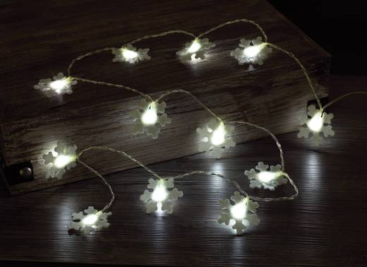 Polarlite LBA-04-003 Motiv-Lichterkette Schneeflocken Innen batteriebetrieben 12 LED Kalt-Weiß Beleuchtete Länge: 1.32 m