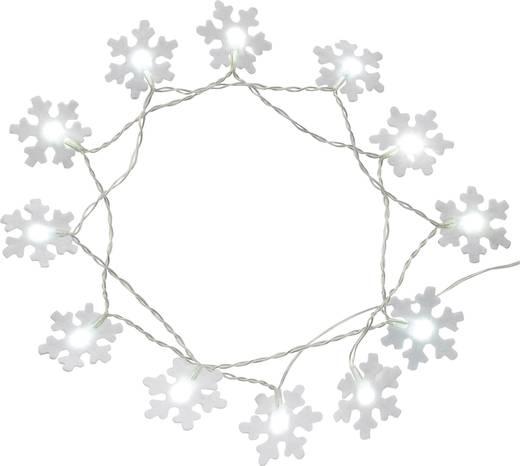 Motiv-Lichterkette Schneeflocken Innen batteriebetrieben 12 LED Kalt-Weiß Beleuchtete Länge: 1.32 m Polarlite LBA-04-003