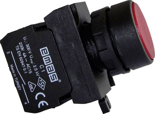 Drucktaster Betätiger flach, Frontring Kunststoff, mit Kontaktelement Rot EMAS CP100DK 1 St.