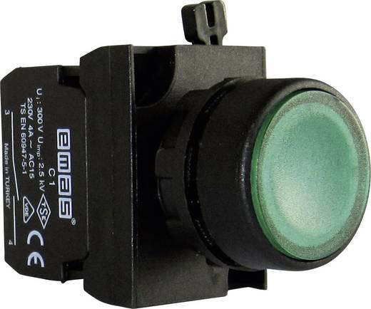 Drucktaster Betätiger flach, Frontring Kunststoff, mit Kontaktelement Grün EMAS CP100DY 1 St.