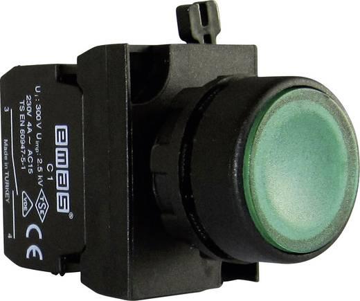 Drucktaster Betätiger flach, Frontring Kunststoff, mit Kontaktelement Grün EMAS CP101DY 1 St.