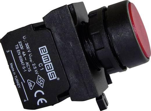 Drucktaster Betätiger flach, Frontring Kunststoff, mit Kontaktelement Rot EMAS CP102DK 1 St.