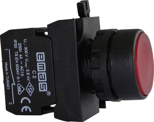 Drucktaster Betätiger flach, Frontring Kunststoff, mit Kontaktelement Rot EMAS CP200DK 1 St.