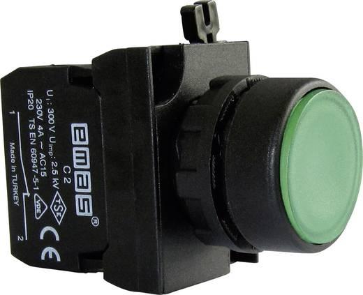 Drucktaster Betätiger flach, Frontring Kunststoff, mit Kontaktelement Grün EMAS CP200DY 1 St.