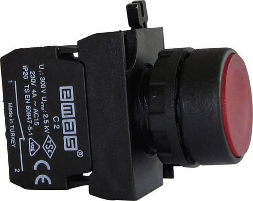 Drucktaster Betätiger flach, Frontring Kunststoff, mit Kontaktelement Rot EMAS CP202DK 1 St.
