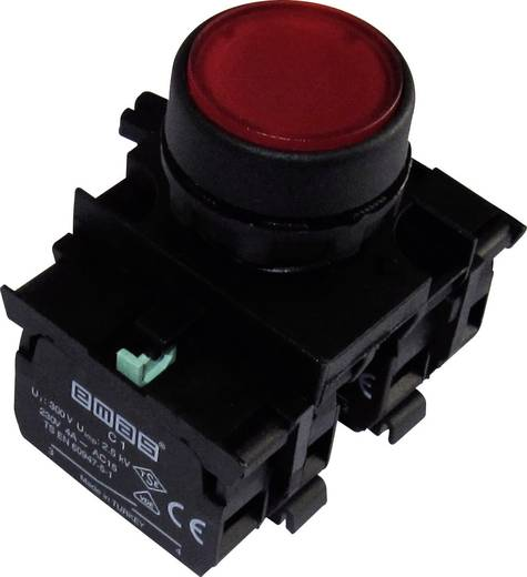 Drucktaster Betätiger flach, Frontring Kunststoff, mit Kontaktelement Rot EMAS CP303DK 1 St.