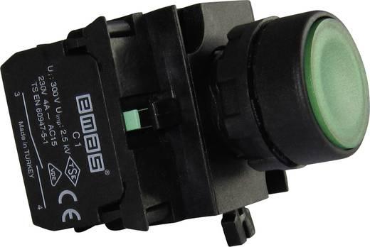 Drucktaster Betätiger flach, Frontring Kunststoff, mit Kontaktelement Grün EMAS CP303DY 1 St.
