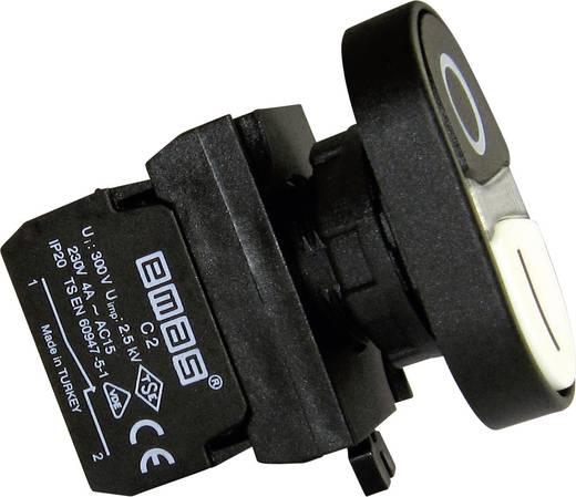 Doppeldrucktaster Betätiger flach, Frontring Kunststoff, mit Kontaktelement Weiß, Schwarz EMAS CP102K20HB 1 St.
