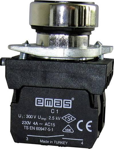 Drucktaster Betätiger flach, Frontring Metall, mit Kontaktelement Grün EMAS CM101DY 1 St.