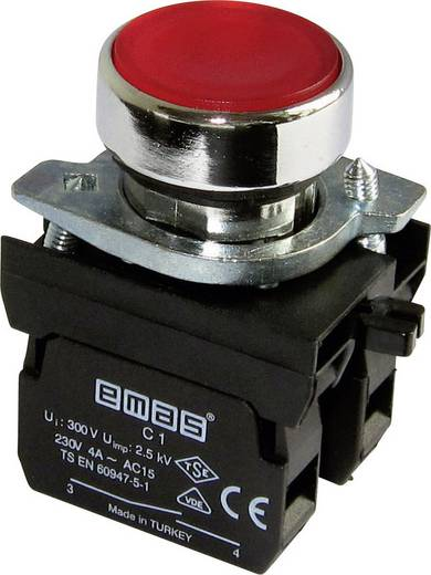 Drucktaster Betätiger flach, Frontring Metall, mit Kontaktelement Rot EMAS CM102DK 1 St.