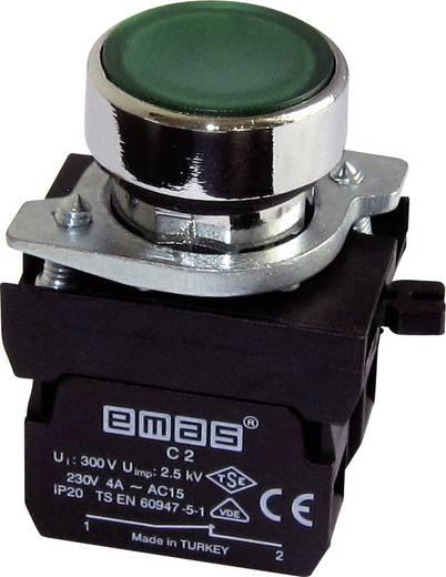 Drucktaster Betätiger flach, Frontring Metall, mit Kontaktelement Grün EMAS CM102DY 1 St.