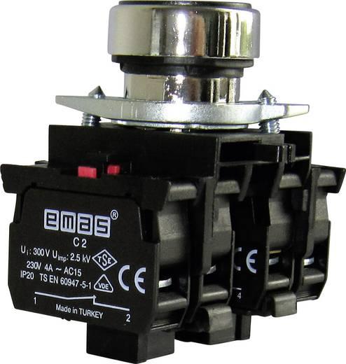 Drucktaster Betätiger flach, Frontring Metall, mit Kontaktelement Grün EMAS CM305DY 1 St.
