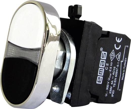 Doppeldrucktaster Betätiger flach, Frontring Metall, mit Kontaktelement Weiß, Schwarz EMAS CM102K20HB 1 St.