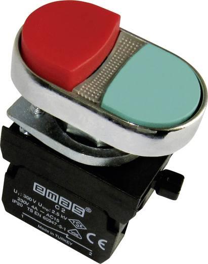 Doppeldrucktaster Frontring Metall, Bund vorstehend, mit Kontaktelement Rot, Grün EMAS CM102K21KY 1 St.