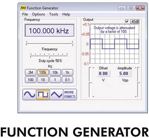 Velleman PCGU1000 Funktionsgenerator USB 0.01 Hz - 2 MHz 2-Kanal Sinus, Rechteck, Rauschen, Dreieck Werksstandard (ohne