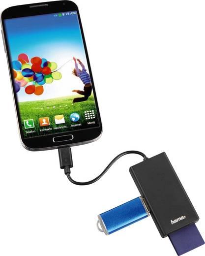 1 Port USB 2.0-Hub mit OTG-Funktion, mit eingebautem SD-Kartenleser Hama Schwarz