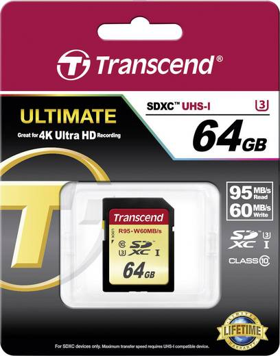 Transcend Ultimate SDXC-Karte 64 GB Class 10, UHS-I, UHS-Class 3