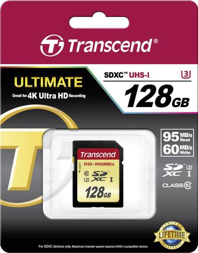 Transcend Ultimate SDXC-Karte 128 GB Class 10, UHS-I, UHS-Class 3