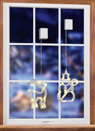 Fenster dekoration rentier mit batterien warm wei led for Rentier dekoration