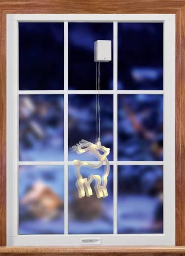 Fenster-Dekoration Rentier mit Batterien Warm-Weiß LED Polarlite LBA-50-008 Transparent