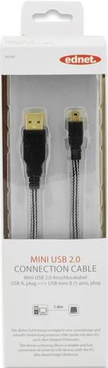ednet USB 2.0 Kabel [1x USB 2.0 Stecker A - 1x USB 2.0 Stecker Mini-B] 1.8 m Schwarz vergoldete Steckkontakte